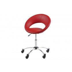 ACTONA fotel obrotowy PLUMP czerwony - ekoskóra, chrom