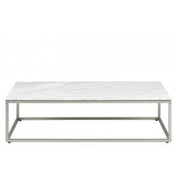ACTONA stolik kawowy BRAN biały - marmur, nikiel szczotkowany