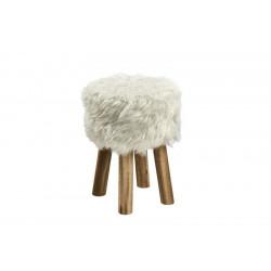 ACTONA stołek MAREN biały - sztuczne futro, nogi dębowe