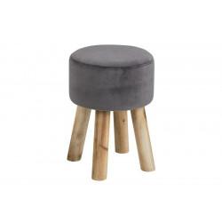 ACTONA stołek MAREN szary - welur, nogi dębowe