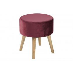 ACTONA stołek SHERMAN bordowy - welur, nogi dębowe