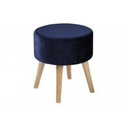 ACTONA stołek SHERMAN ciemnoniebieski - welur, nogi dębowe