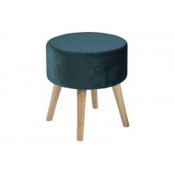 ACTONA stołek SHERMAN ciemnozielony - welur, nogi dębowe