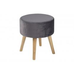 ACTONA stołek SHERMAN szary - welur, nogi dębowe