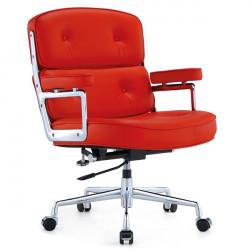 Fotel biurowy ICON PRESTIGE PLUS czerwony - włoska skóra naturalna, aluminium