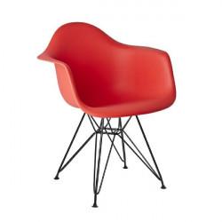 Fotel DAR BLACK krwista czerwień.06 - polipropylen, podstawa czarna