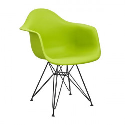 Fotel DAR BLACK soczysta zieleń.13 - polipropylen, podstawa czarna