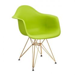 Fotel DAR GOLD soczysta zieleń.13 - polipropylen, podstawa złota