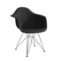 Fotel DAR SILVER czarny.03 - polipropylen, podstawa chromowana