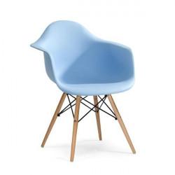 Fotel DAW jasny niebieski.12 - polipropylen, podstawa bukowa