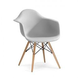 Fotel DAW jasny szary.05 - polipropylen, podstawa bukowa