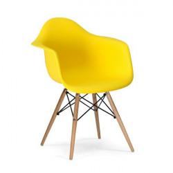 Fotel DAW słoneczny żółty.09 - polipropylen, podstawa bukowa