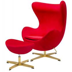 Fotel EGG CLASSIC VELVET GOLD czerwony z podnóżkiem - welur, podstawa złota