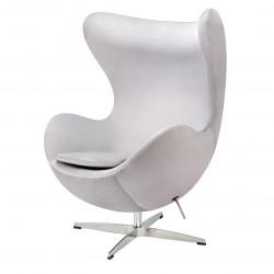 Fotel EGG CLASSIC VELVET jasny szary - welur, podstawa aluminiowa