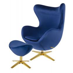Fotel EGG SZEROKI VELVET GOLD z podnóżkiem ciemny niebieski.49 - welur, podstawa złota