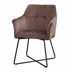 INVICTA fotel LOFT brązowy - aksamit, metal