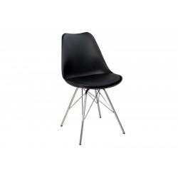INVICTA Krzesło HUGO czarne - podstawa chromowana