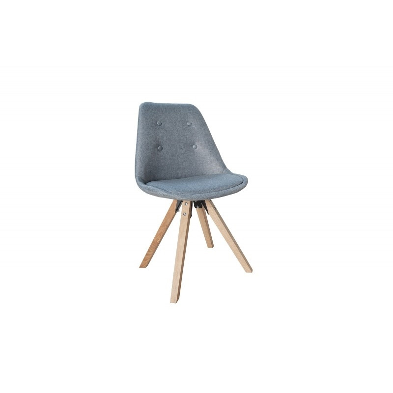 INVICTA Krzesło tapicerowane HUGO WOOD - szare pikowane