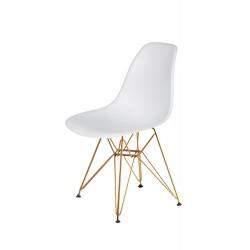 Krzesło DSR GOLD białe.01 - podstawa metalowa złota