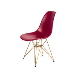 Krzesło DSR GOLD bordowy.36 - podstawa metalowa złota