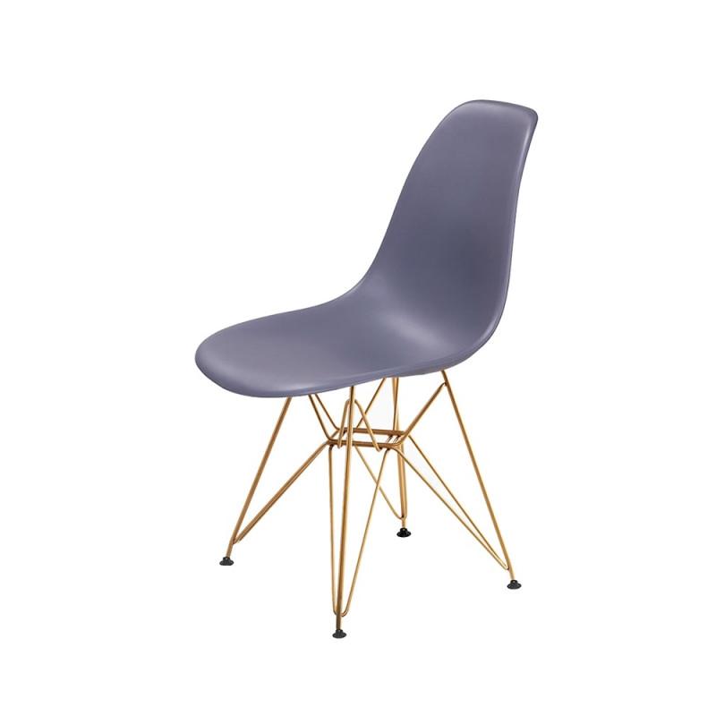 Krzesło DSR GOLD ciemny szary.04 - podstawa metalowa złota
