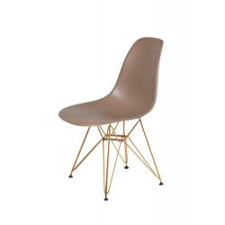 Krzesło DSR GOLD kawa mocca.35 - podstawa metalowa złota