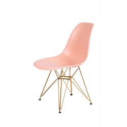 Krzesło DSR GOLD łososiowy.35 - podstawa metalowa złota