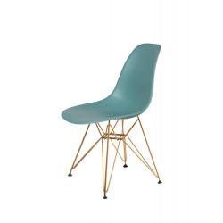 Krzesło DSR GOLD pastelowy turkus.29 - podstawa metalowa złota