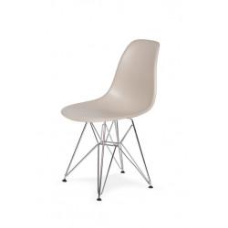 Krzesło DSR SILVER beżowy.18 - podstawa metalowa chromowana