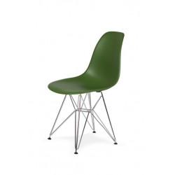Krzesło DSR SILVER butelkowa zieleń.27 - podstawa metalowa chromowana