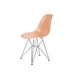 Krzesło DSR SILVER ciepły kremowy.32 - podstawa metalowa chromowana