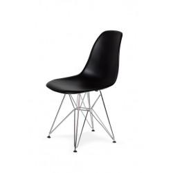 Krzesło DSR SILVER czarne.03 - podstawa metalowa chromowana