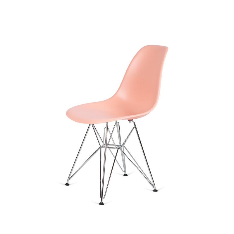 Krzesło DSR SILVER łososiowy.35 - podstawa metalowa chromowana