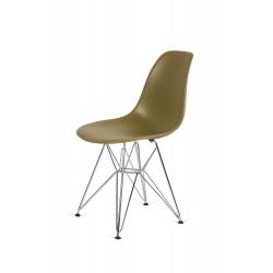 Krzesło DSR SILVER zielona herbata.31 - podstawa metalowa chromowana
