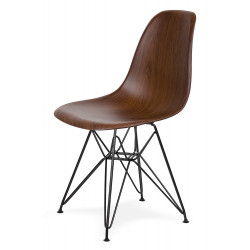 Krzesło DSR WOOD BLACK imitacja drewna - ABS, podstawa czarna