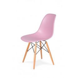 Krzesło DSW WOOD pastelowy róż.07 - polipropylen, podstawa bukowa