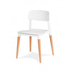 Krzesło ECCO PREMIUM białe - polipropylen, buk