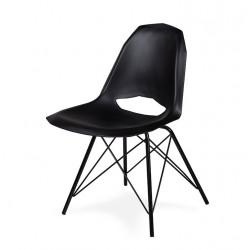 Krzesło GULAR DSM czarne - polipropylen, podstawa czarna metalowa