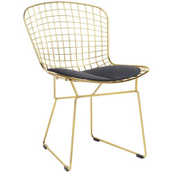 Krzesło NET SOFT GOLD złote - czarna poduszka, metal