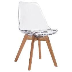 Krzesło NORDIC CLEAR - poliweglan, dąb