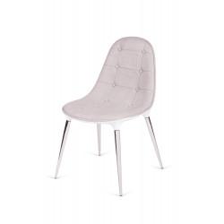 Krzesło PASSION tkanina beżowo-białe - włókno szklane, nogi chromowane