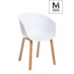 MODESTO fotel ANGEL biały - polipropylen, podstawa bukowa