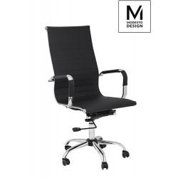 MODESTO fotel biurowy PROFIL czarny - ekoskóra, chrom