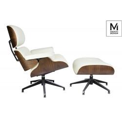 MODESTO fotel LOUNGE z podnóżkiem biały - sklejka orzech, skóra ekologiczna