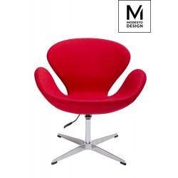 MODESTO fotel SWAN UP czerwony, wełna - regulowana wysokość