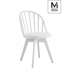 MODESTO krzesło ALBERT białe - polipropylen, ekoskóra