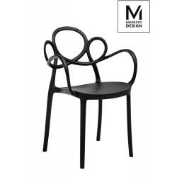 MODESTO krzesło LOOPY ARM czarne - polipropylen