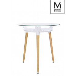 MODESTO stół HIDE FI 80 biały - blat szklany, podstawa drewniana