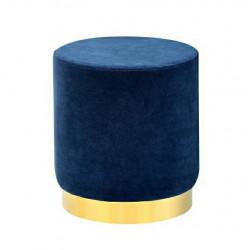 Pufa MARGO ciemny niebieski - welur, podstawa złota