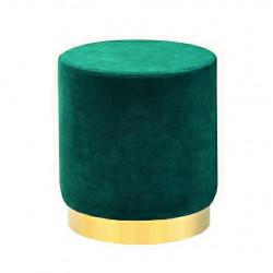 Pufa MARGO ciemny zielony - welur, podstawa złota